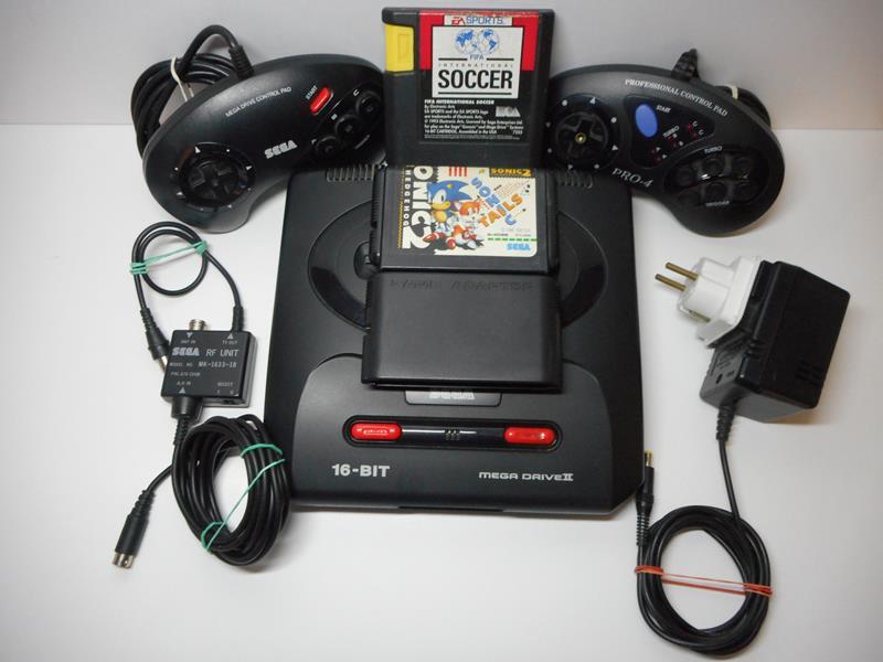 sega mega drive ii game adaptor 2 control pad 2 games save games